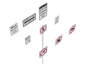 3D Road Sign US R9 Series Bicycles And Pedestrians