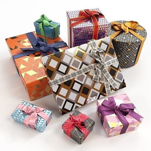 gift boxes with bows part 3 3d model max obj mtl fbx 1