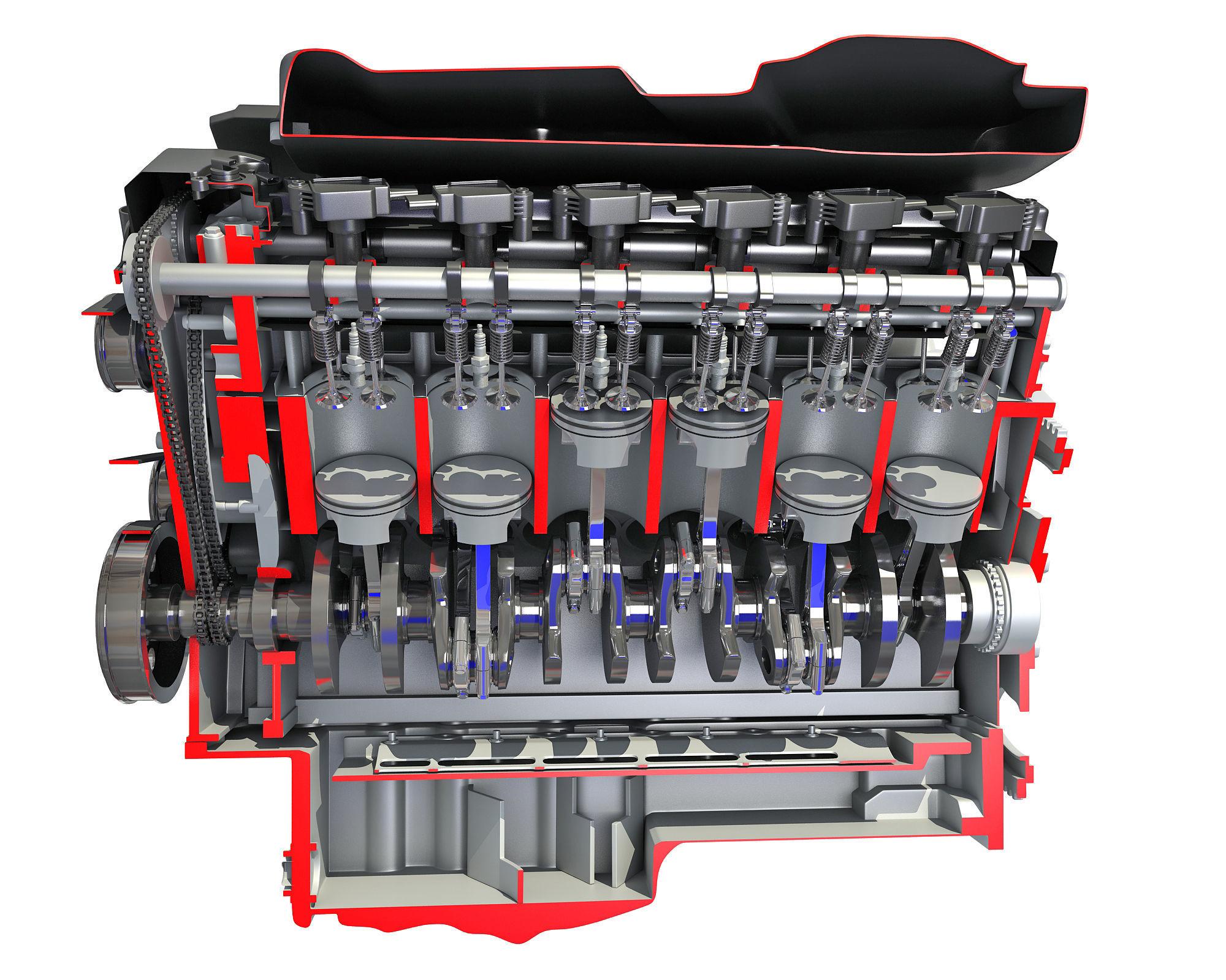 Animated Cutaway V12 Engine