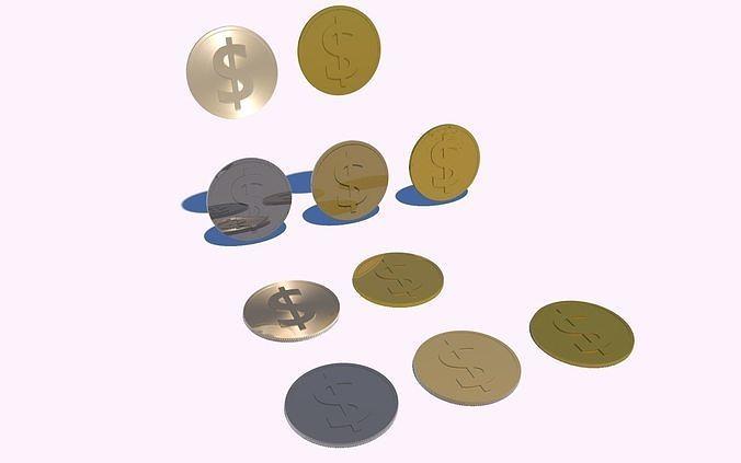 coins 3d model obj mtl 3ds fbx c4d stl dae 1
