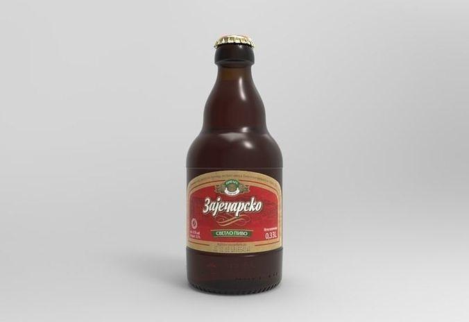 zajecarsko 033l beer bottle 3d model obj mtl fbx stl ige igs iges stp 1