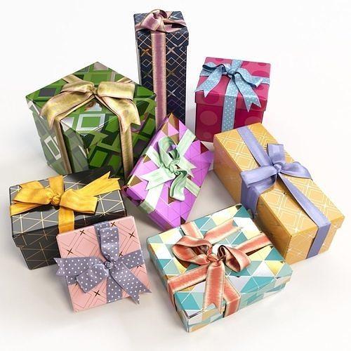 gift boxes with bows part 1 3d model max obj mtl fbx 1