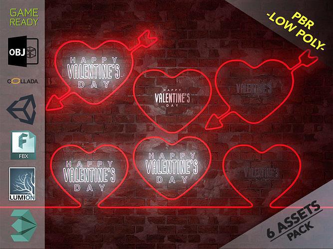 neon hearts pack1 3d model max obj mtl 3ds fbx dae unitypackage prefab 1