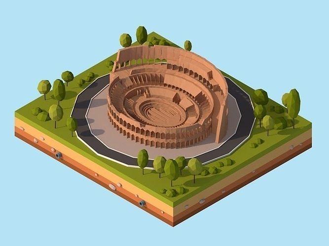 cartoon low poly rome coloseum landmark 3d model low-poly max obj mtl 3ds fbx c4d stl 1
