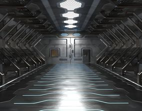 3D High Poly Sci Fi hangar model
