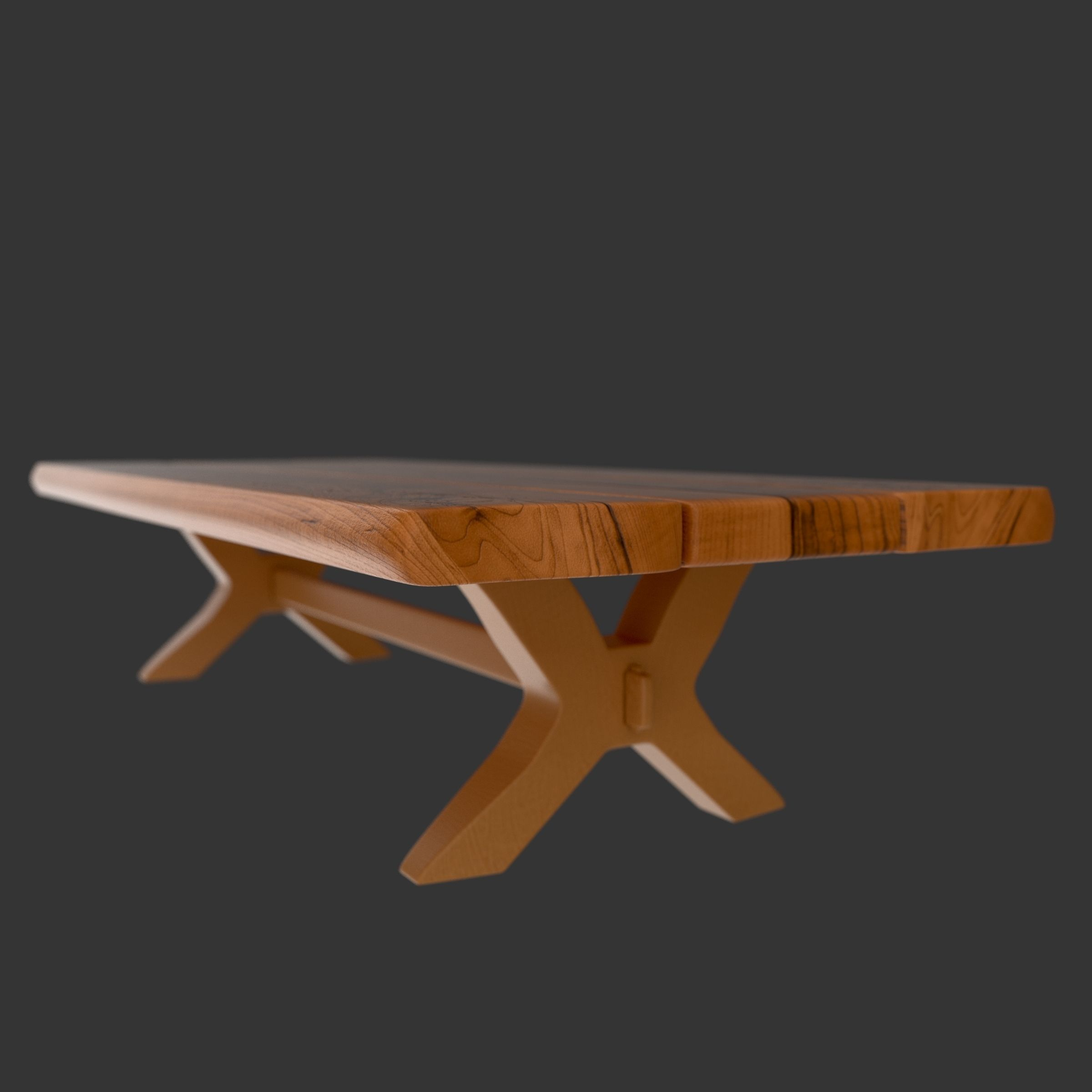 Wood table free 3d model max 3ds fbx for Table 3d model