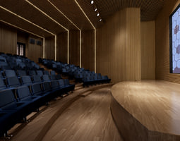 wooden private cinema hall 3d model