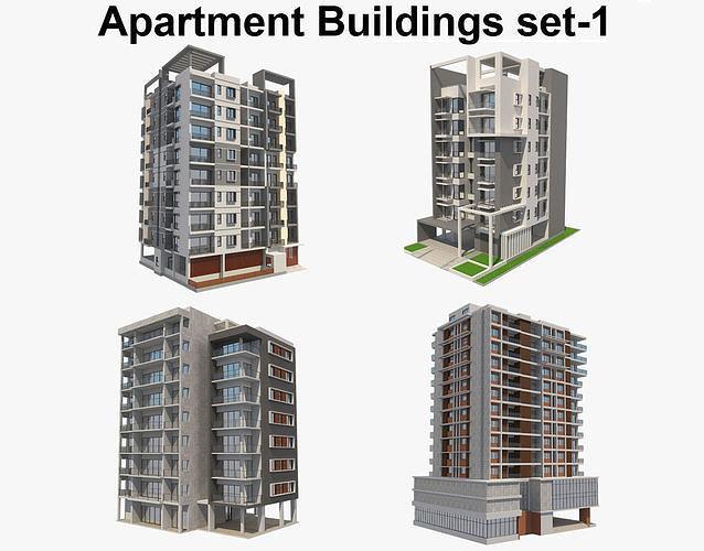 apartment buildings set 1 3d model max obj mtl 3ds fbx c4d ma mb 1