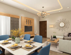3D Living and Dining Room Interiors Scene 05