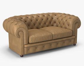 3D model Poltrona Frau Chester 2 Seater Sofa