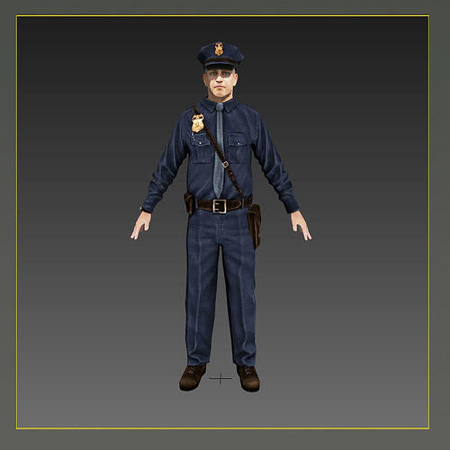 american policeman rigged character  3d model low-poly rigged max obj mtl 3ds fbx mat 1