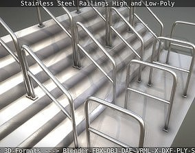 Stainless Steel Railings High and Low-Poly 3D
