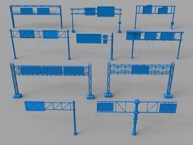road billboards - 10 pieces 3d model max obj mtl fbx stl 1