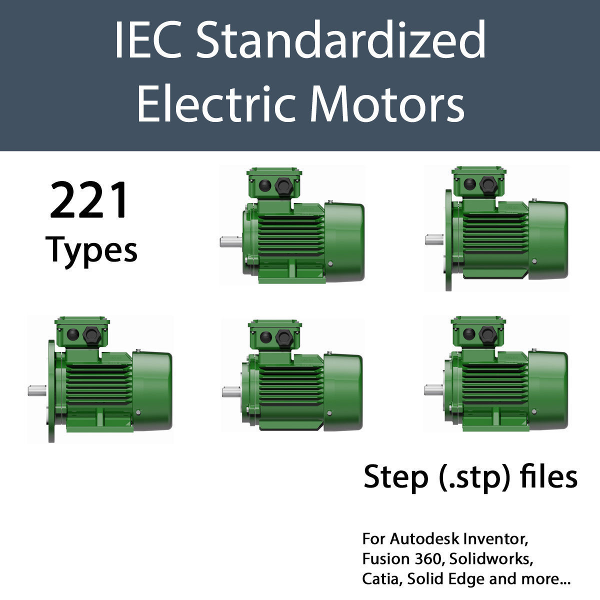 THREE PHASE ELECTRIC MOTORS IEC STANDARD - STEP | 3D model