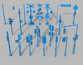 3D model Traffic Lights - 18 pieces