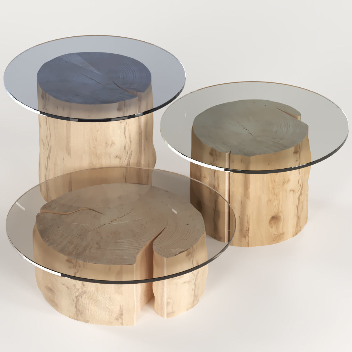 Picture of: 3d 3 Round Coffee Table Stump With Glass Top Cgtrader
