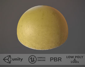 Concrete Hemisphere Barrier Painted Yellow pack 1 3D model