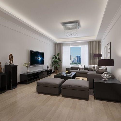 modern living dining room 3d model max 1