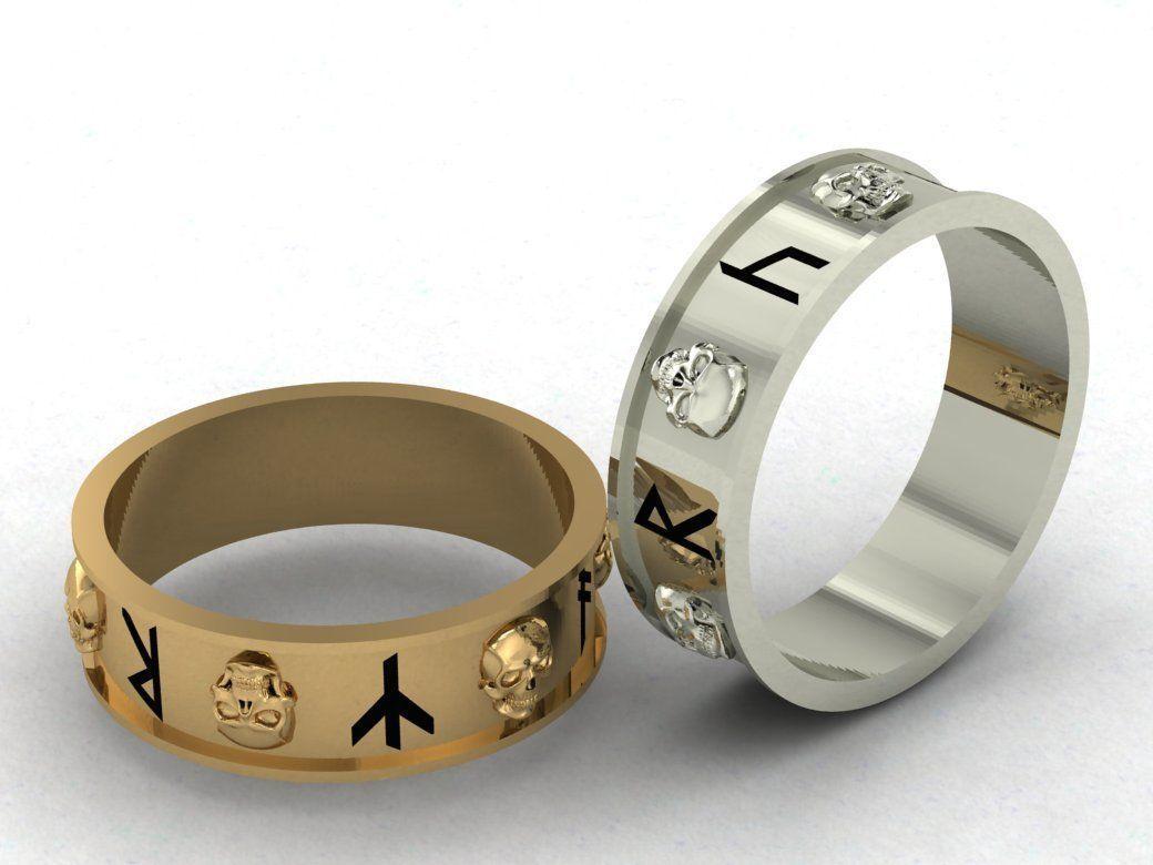 runic symbols and skulls
