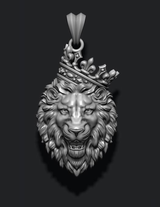 Lion pendant with crown v3