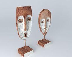 ens 2 statuettes azawad houses the world 3d model
