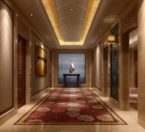 3d hotel corridor interior cgtrader for Design hotel 3d
