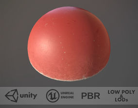 Concrete Hemisphere Barrier Painted Red pack 1 v2 3D asset