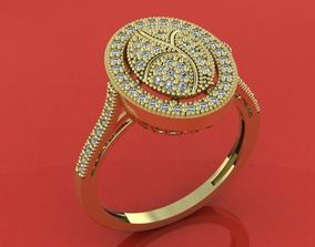 Chic woman ring with shiny stones 3D printable model