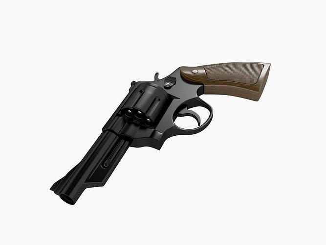 pistol - revolver 3d model max obj mtl fbx 1