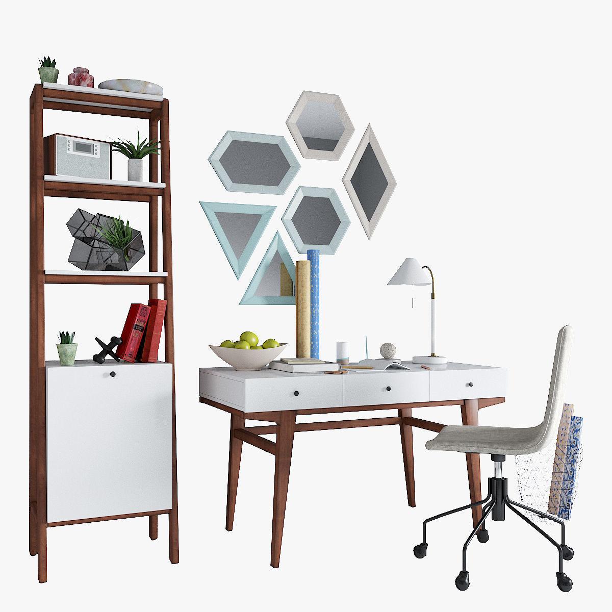 West Elm Modern Desk Narrow Tower Slope Office Chair  40D model