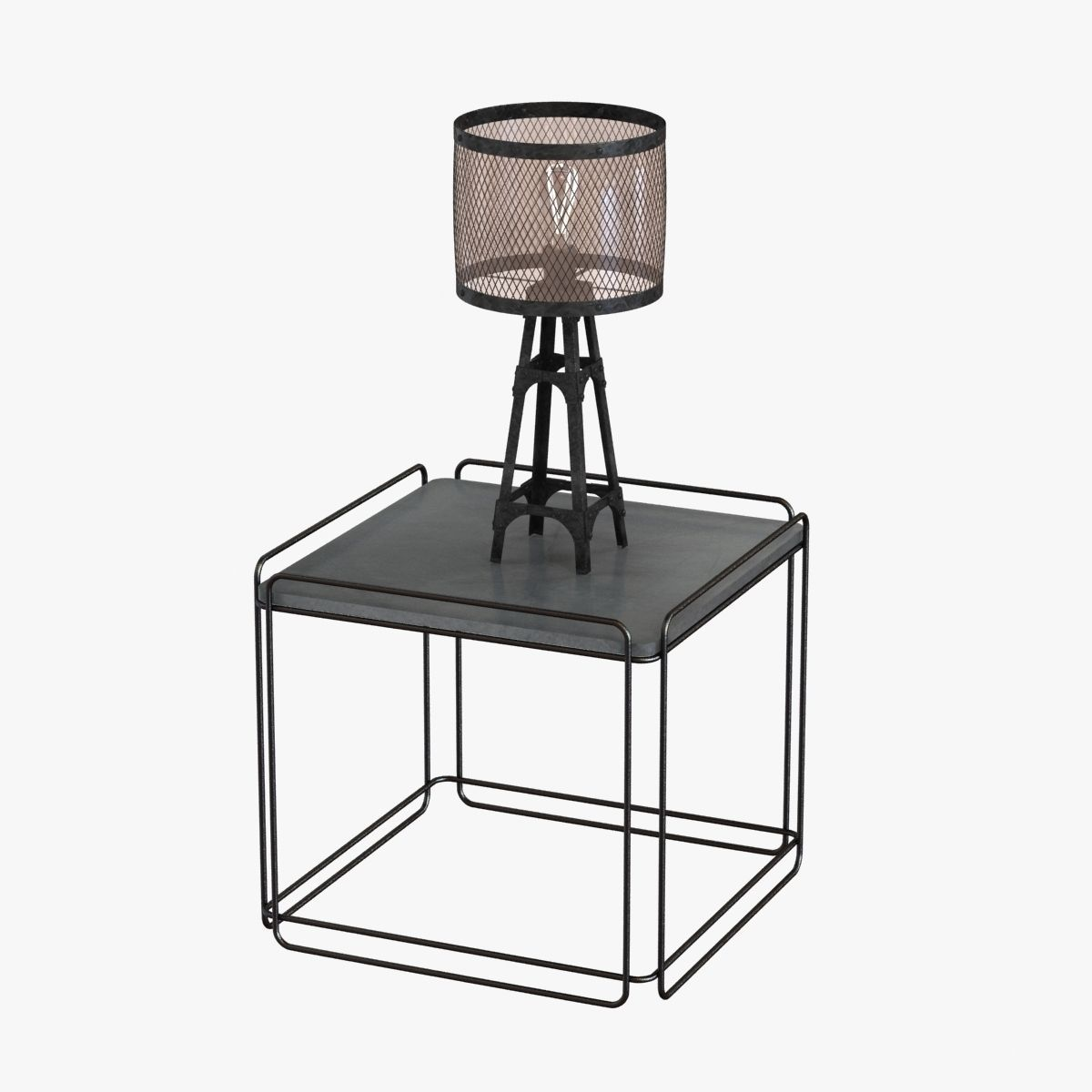 industrial table lamp on table 3d model max obj 3ds fbx mtl 1