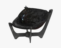 eaton black top grain leather sling chair 3d model max obj 3ds fbx