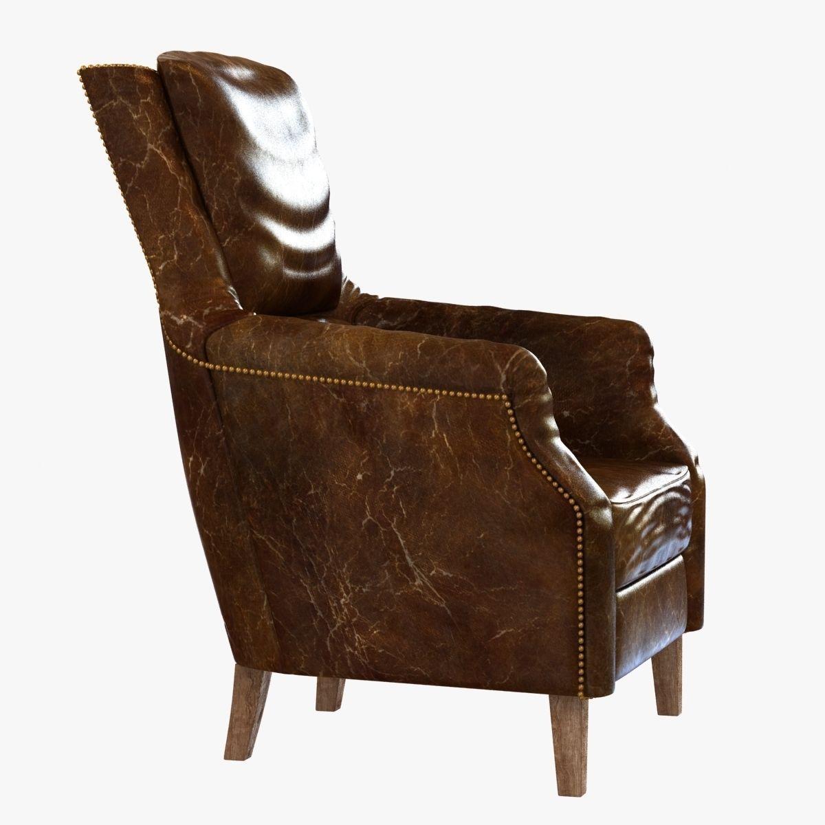 chelsea classic man room distressed cigar leather arm chair d  -  chelsea classic man room distressed cigar leather arm chair d modelmax obj ds fbx mtl