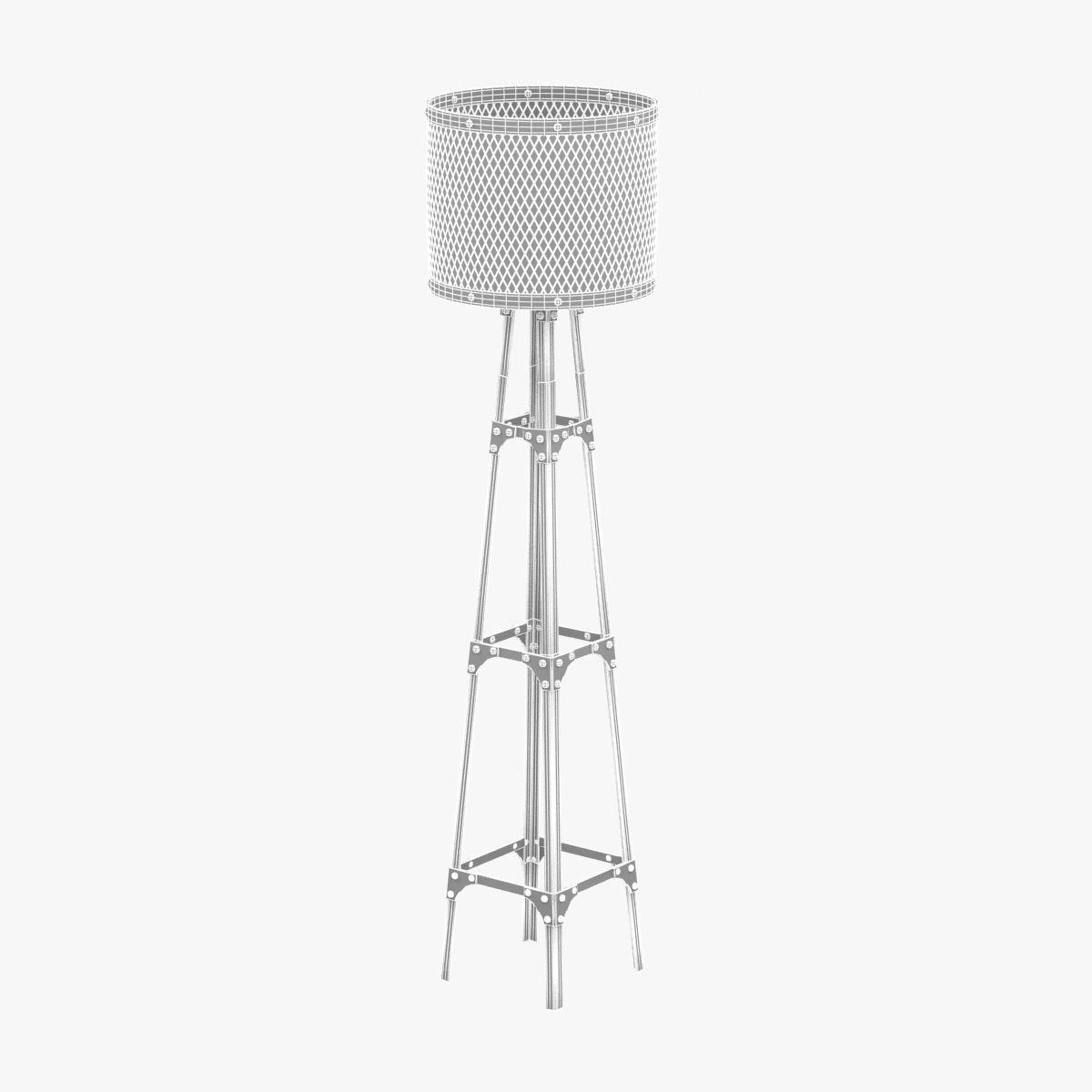 industrial pylon style floor lamp 3d model max obj 3ds fbx cgtrader. Black Bedroom Furniture Sets. Home Design Ideas