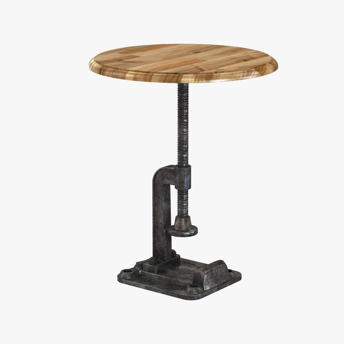 Reclaimed Wood Rustic Clamp Side Table Stool 3d Model Max Obj 3ds Fbx Mtl 1  ...