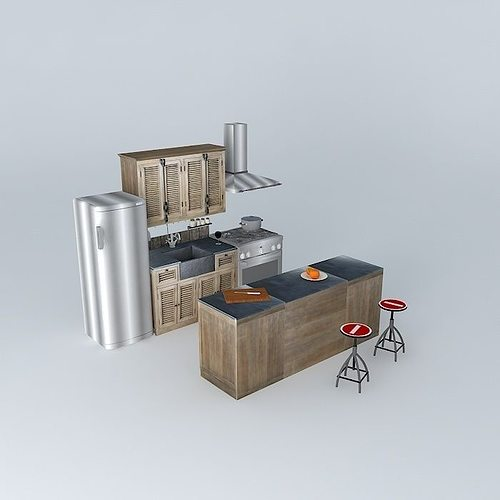 kitchen island louvers world houses 3d model max obj mtl 3ds fbx stl dae 1