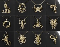12 Zodiac Pendants Collection 3D print model