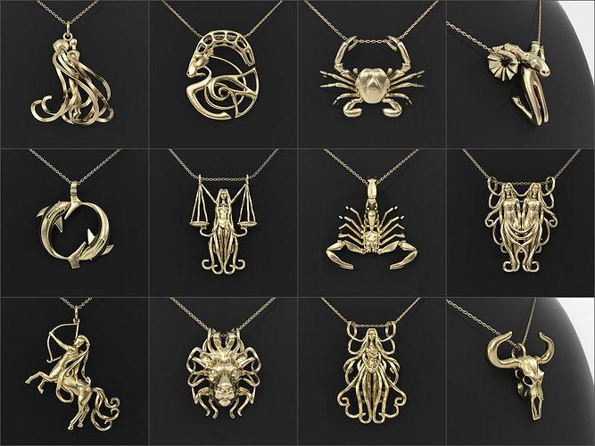 12 zodiac pendants collection 3d print model cgtrader 12 zodiac pendants collection 3d model stl 1 mozeypictures Images