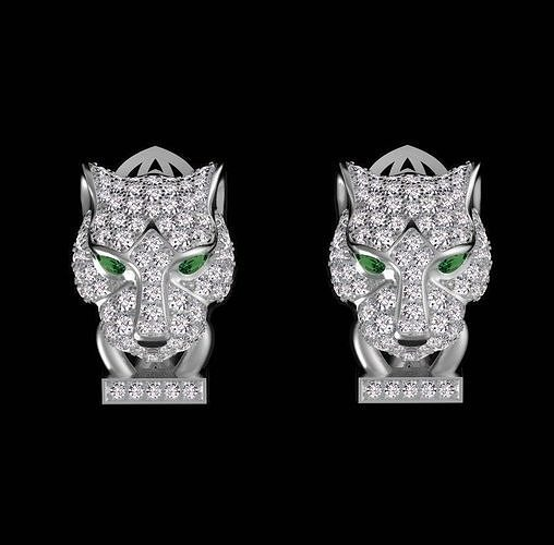panther earrings 3d model max obj mtl 1