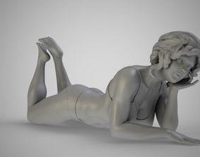 Girl Lying on the Beach 3D print model