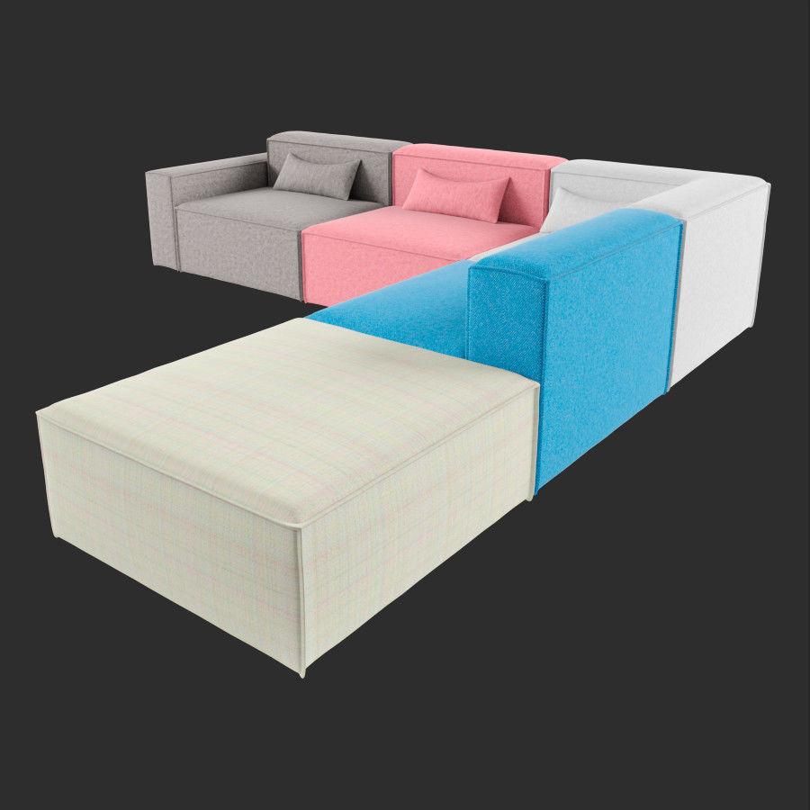 3D Mix Modular 5 Piece Sectional Sofa   CGTrader