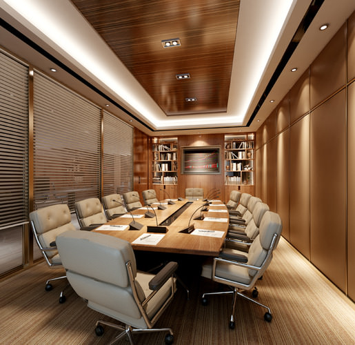 modern conference room 3d cgtrader. Black Bedroom Furniture Sets. Home Design Ideas