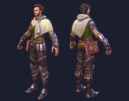 priest man cloak armor warrior magic book master minister game-ready 3d asset