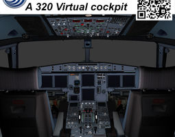 Airbus A-320 Virtual cockpit 3D asset