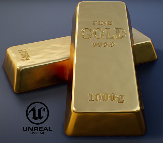gold bullion pbr game-ready 3d model low-poly max fbx uasset 1