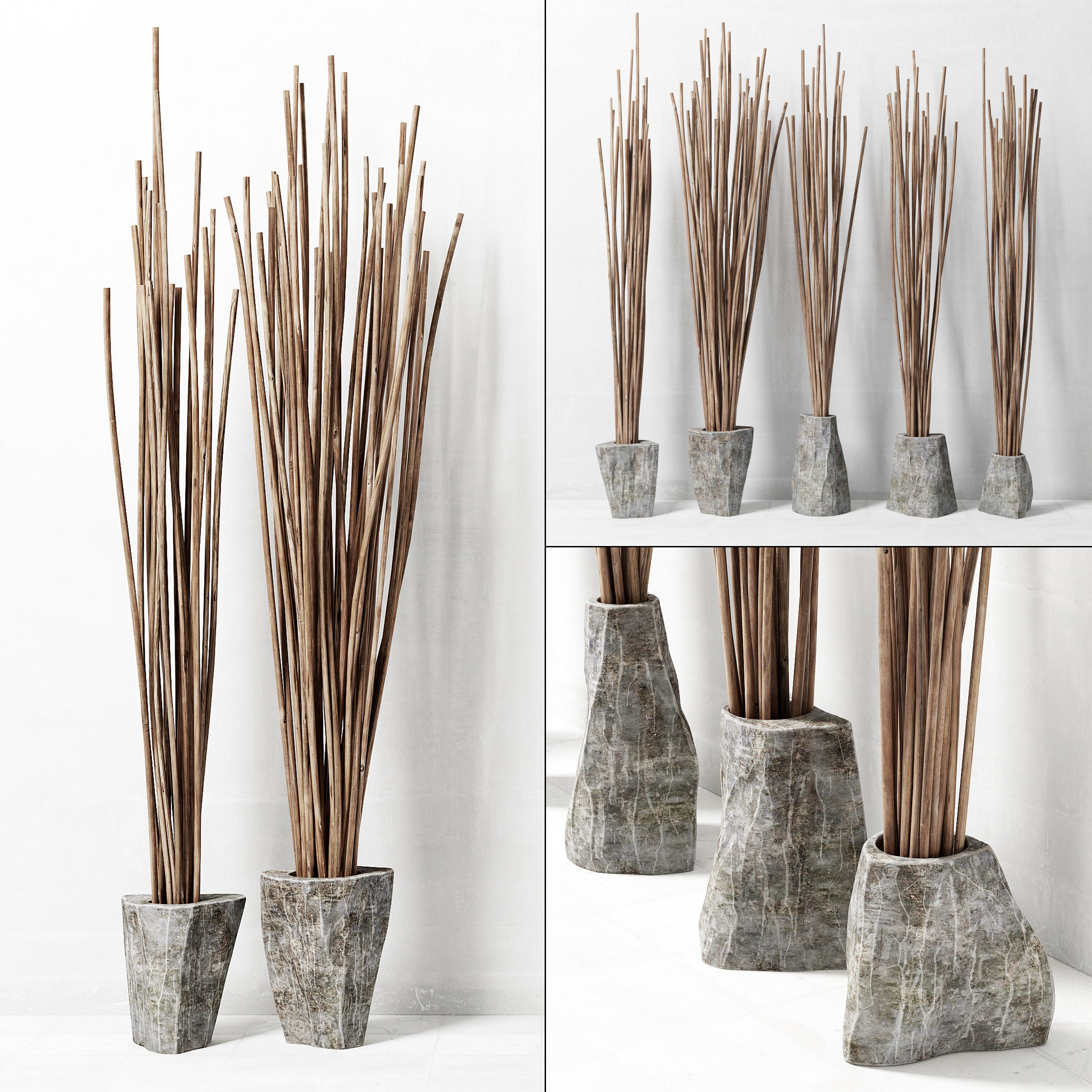 Branches In The Vase Decor 3d Model