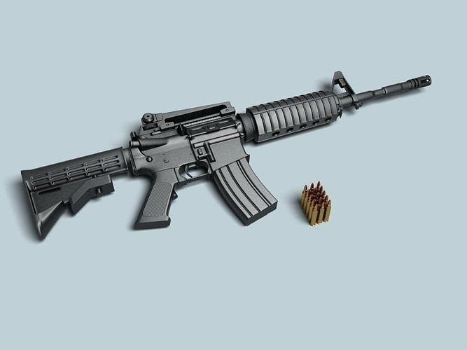 m4a1 rifle 3d model max obj mtl 3ds fbx 1
