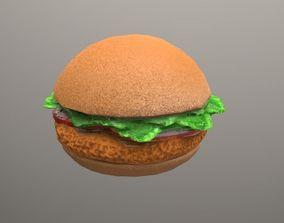 fried chicken sandwich Low Poly 3D model