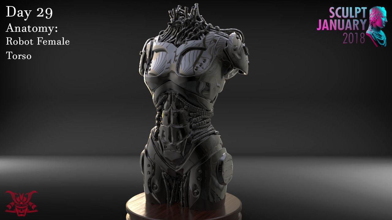 Female Robot Torso Timelapse and Model