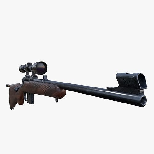 carbine cz 527 3d model rigged animated obj mtl fbx blend 1